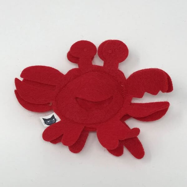 This is a catnip toy in the shape of a red crab