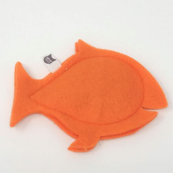 This is a catnip toy in the shape of a orange fish
