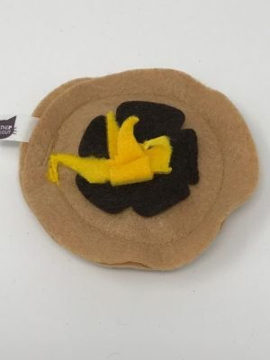 This is a catnip toy in the shape of a pancake