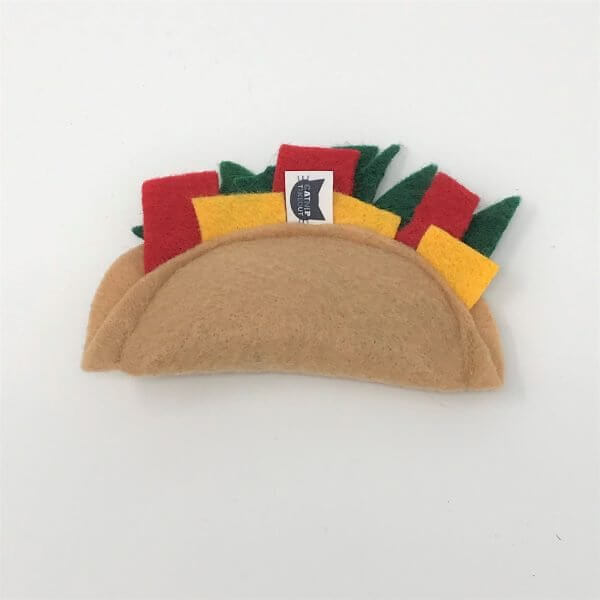 This is a catnip toy in the shape of a taco