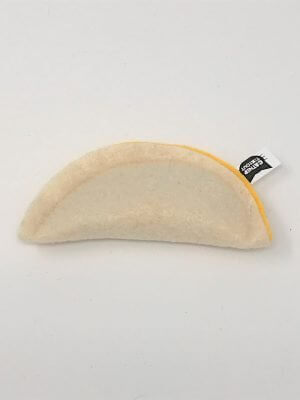 This is a catnip toy in the shape of a Quesadilla