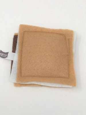 This is a catnip toy in the shape of a S'more